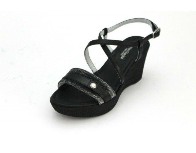 miniatura 3 - Sandali Nero Giardini donna zeppa E012380D pelle nero e rame nuova collezione