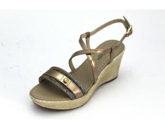 miniatura 7 - Sandali Nero Giardini donna zeppa E012380D pelle nero e rame nuova collezione